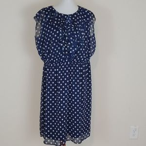 Soho Apparel LTD blue and white polka dot dress